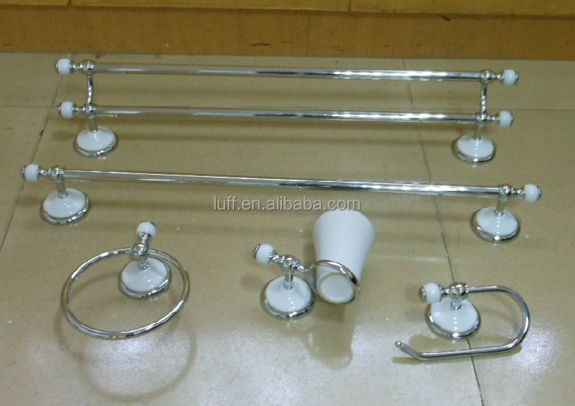 wallmounted white and chrome ceramic bathroom accessories set 5 pieces