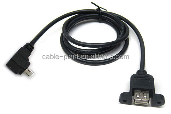 Left Angle Usb Micro B To Usb A Female Panel Mount Cable