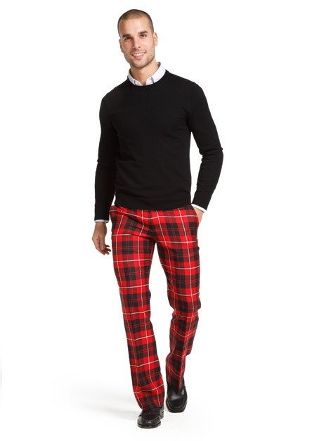 Men Red Plaid Straight Leg Pants - Buy Red Plaid Pants,Plaid Pants ...