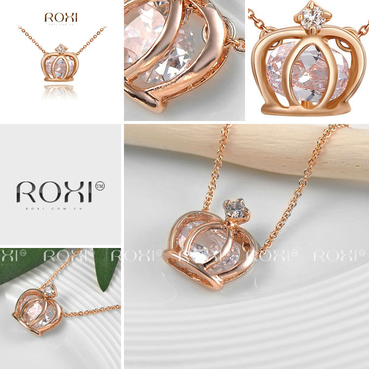2015 ROXI Fashion jewelry Ladies Statement Crown Pendant Necklaces Rose Gold Plated Jewelry Paving Austrian Crystal