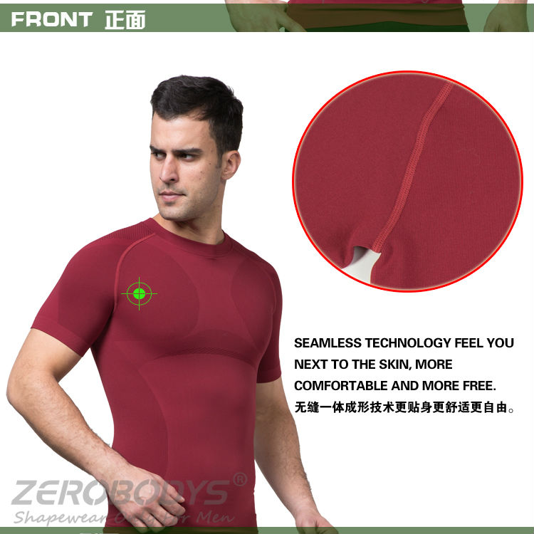391 RD ZEROBODYS Outdoor Mens Body Shaper Quick Dry Short Sleeve Sports T-shirts Fitness Clothes Mma Clothes Running Men