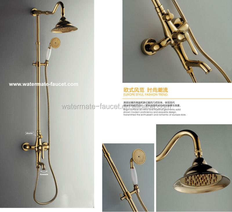 contemporary brass shower set in vacuum coating gold finish