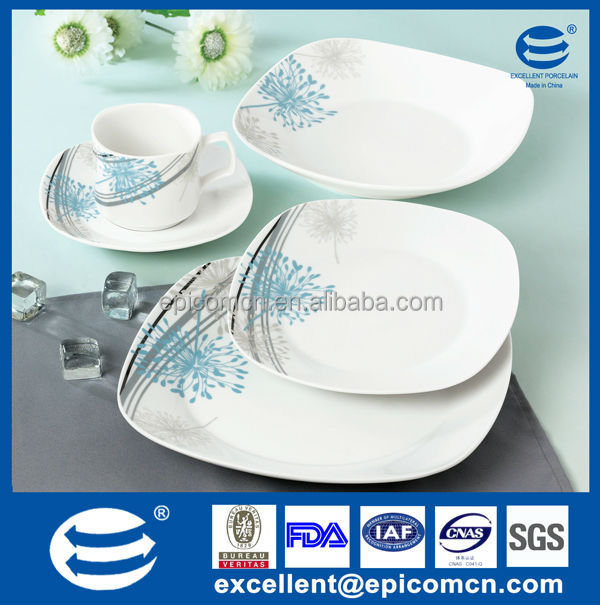 ocean blue and gray 20 pcs tableware porcelain light blue square dinnerware set  sc 1 st  Alibaba : white porcelain square dinnerware - pezcame.com