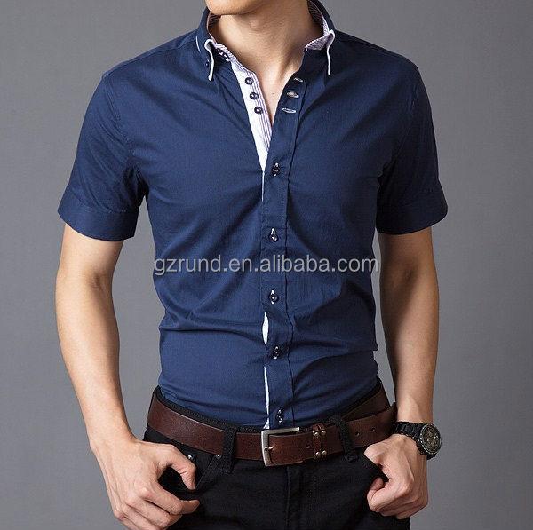 Custom Short Sleeve Mens Shirts Formal Slim Fit Stylish
