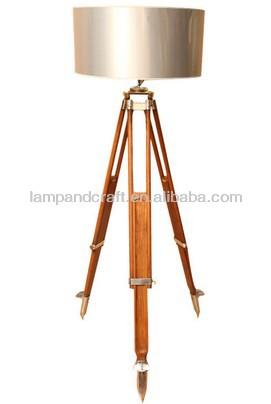 Saa Australia Modern Antique Brass Tripod Floor Lamp With White ...