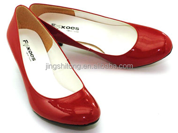 Lady Sexy Low Heel Bridal Red Shoes Glossy Leather Women Dress ...