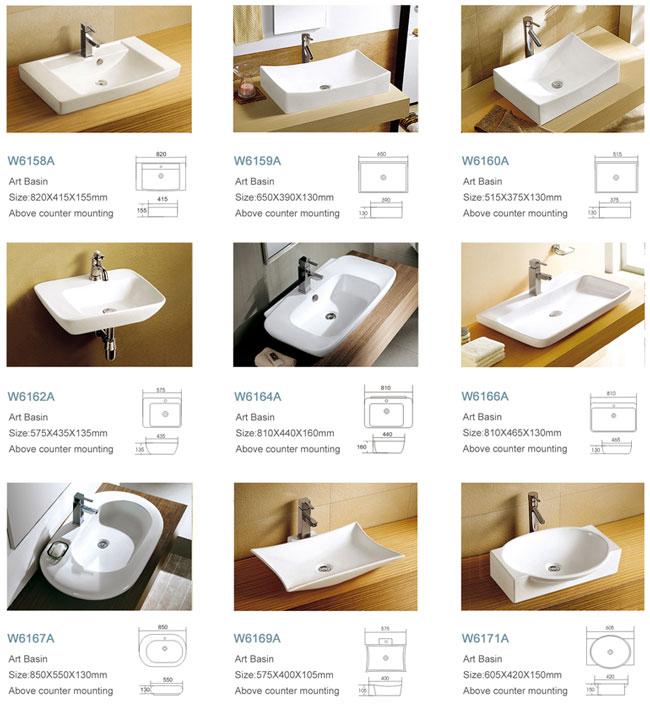 Above Counter Art Design Bathroom Stylish Wash Basin Types
