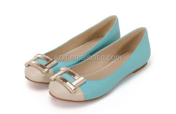 Fashion Ballet Flat Women Shoes Big Buckle Lady Flat Pump Shoes ...