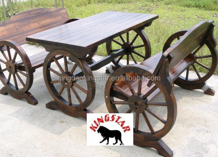 Wood Wheel Bench