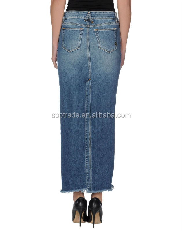 Women latest long jeans skirts pencil design