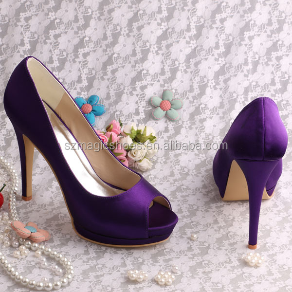 Dark purple high heels shoes