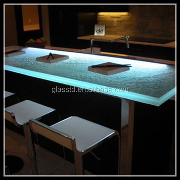 Luxury Led Lit Glass Countertops L Shape Bar Counter Buy