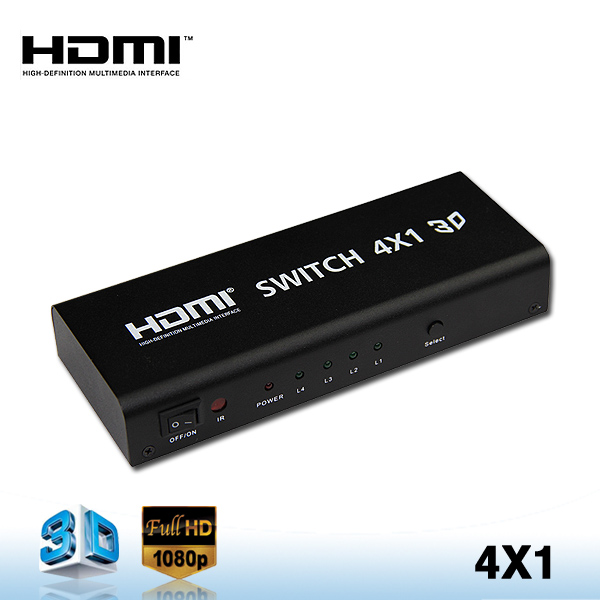 Audio Volume Control 4 Ports Hdmi Switch 4x1 V1 3 Support 3d,1080p With  Audio /coaxial /toslink Output - Buy Hdmi Switch,Audio Remote Volume