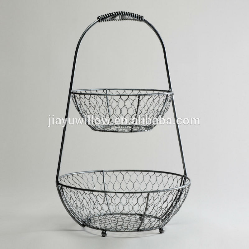 Superb Vegetable Baskets And Stand Metal Fruit Basket Stand 2 Tier Wire Basket