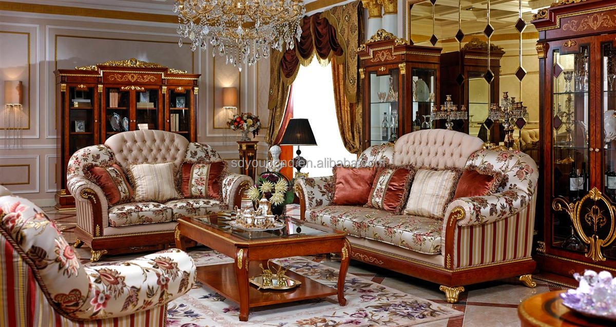0038Solid living room furniture luxury European classic wood carved sofa,classic  wood frame leather sofa
