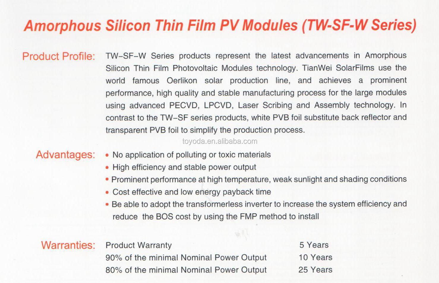 Cellule Photovoltaïque En Silicium Amorphe intérieur 95 w silicium amorphe panneau solaire / film mince panneau pv - buy
