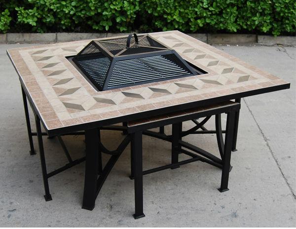 Kingjoy garden table fire pit set patio furniture outdoor - Mesa para brasero ...