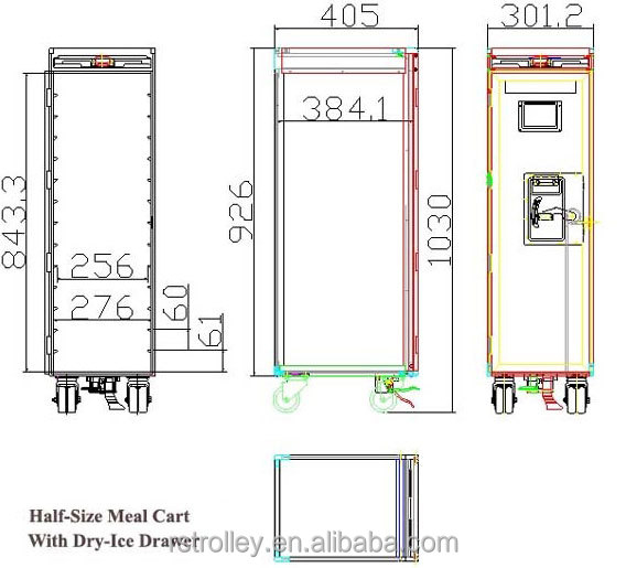 Half Size Atlas Aircraft Galley Serving Meal Cart View
