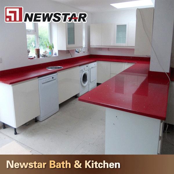 Red Quartz Kitchen Countertop: Newstar Cheap Red Quartz Countertop Kitchen Price India