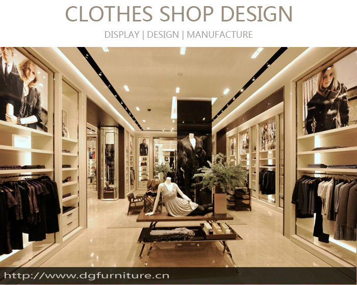 High level retail garment shop display boutique interior for Clothing shop interior designs