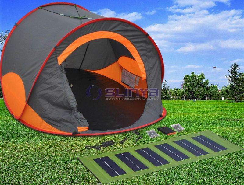 Portable C&ing Orange Solar Tent For Sale With Solar Power LED Light Fan & Portable Camping Orange Solar Tent For Sale With Solar Power LED ...