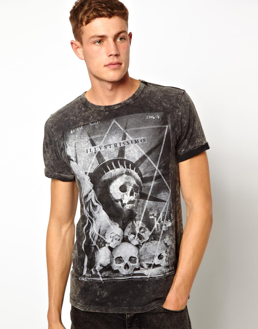 Shirt design new look - 2014 Fashion Newest Round Neck Short Sleeve Fashion Freedom Skull Print T Shirt Design For