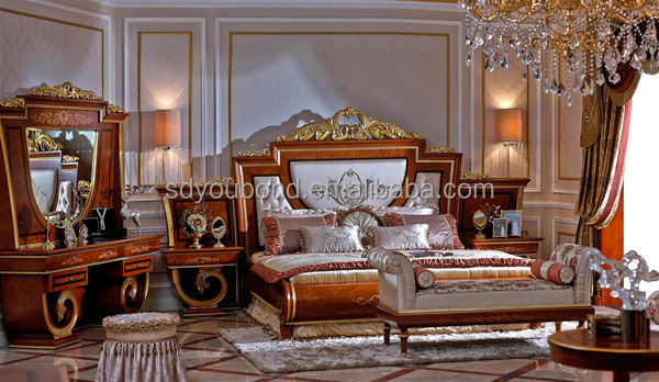 0038 high end italian design solid wood classical bedroom High end bedroom design