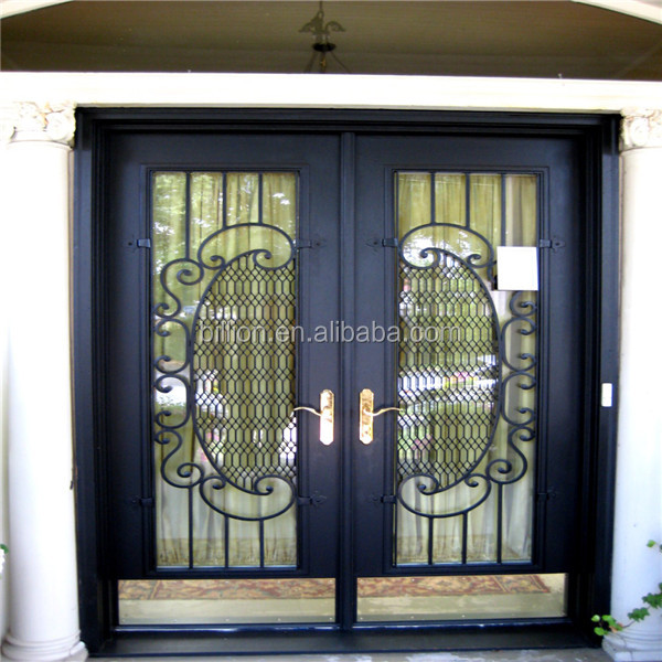 Residential iron steel french doors grill designs buy for Residential french doors