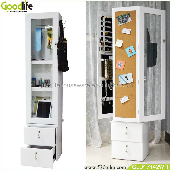 Full Length Wooden Rotating Mirror Jewelry Cabinet With Drawers