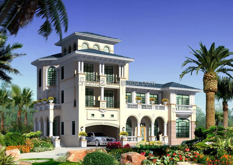 Prefabricated villa mediterranean villa light steel for Prefab mediterranean style homes