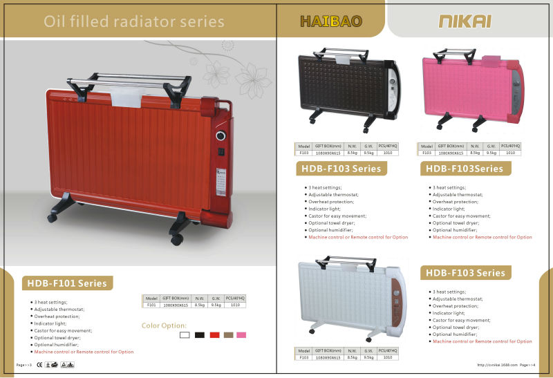 Wall Mounted Oil Filled Radiator Electric Oil Panel