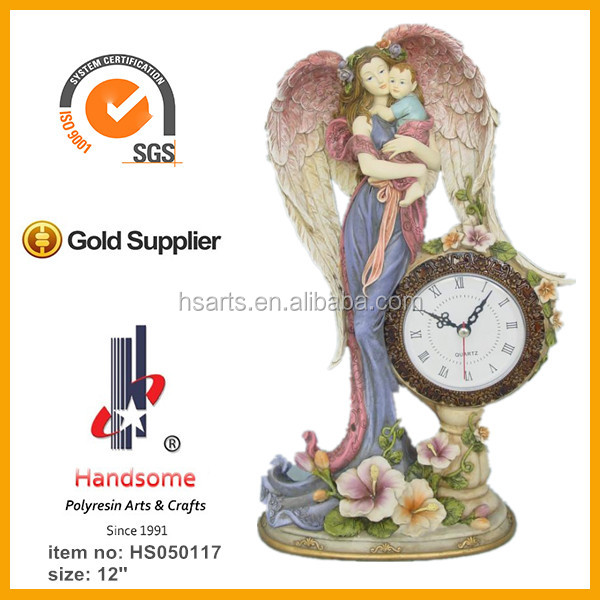 19'' polyresin christian jesus statue wall clock