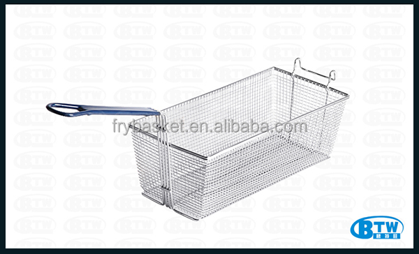 Heavy Gauge Welded Wire Mesh Frying Basket Commercial Kitchen Accessories With Front Hook