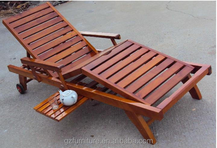 wheeled wooden garden sun lounger with drinks tray wood lay flat sun bed - Garden Furniture Loungers