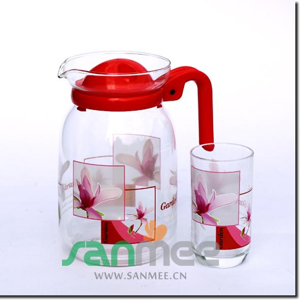 Juice Or Water Glass Set Heat Transfer Pot-bellied Glass Water Set ...