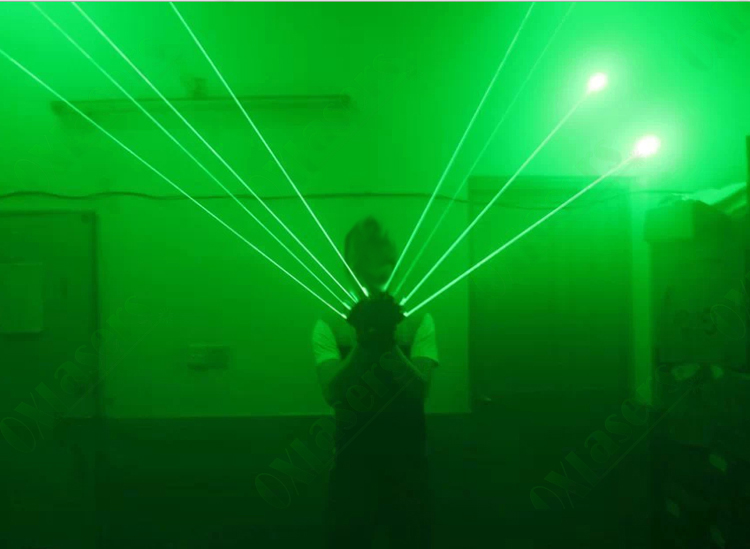 2 pcs OXLasers green laser gloves and palm light with 4 pcs green lasers laser dancing stage show light party red laser gloves