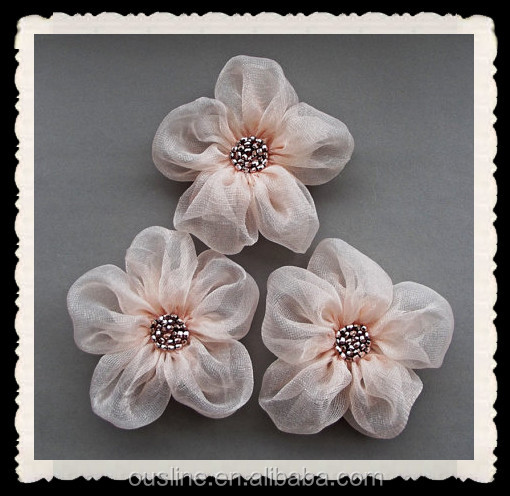 Pale Pink Fabric Flowers Handmade Liques Embellishments Flower For Dresses