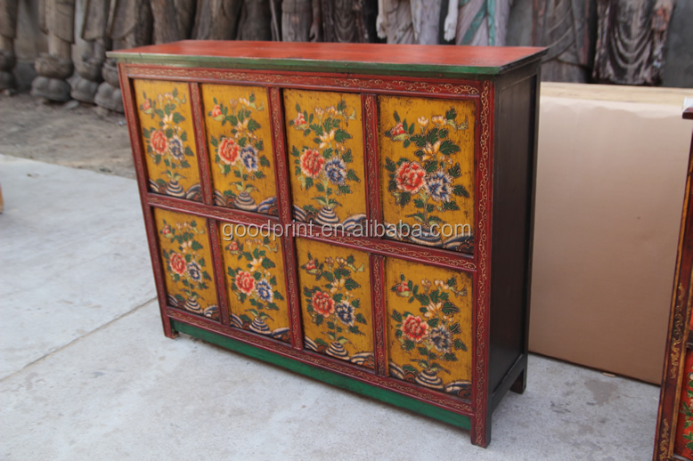 Reproduction Antique Furniture Hand Painted Tibetan Cabinet