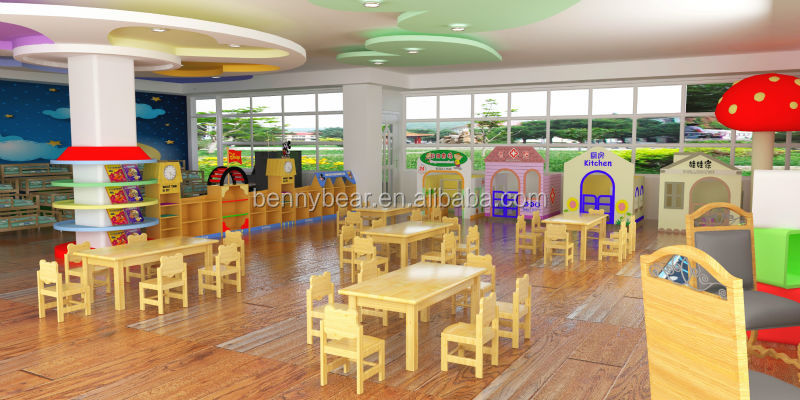 Preschool Classroom Furnitures ~ Kindergarten wooden furniture children classroom
