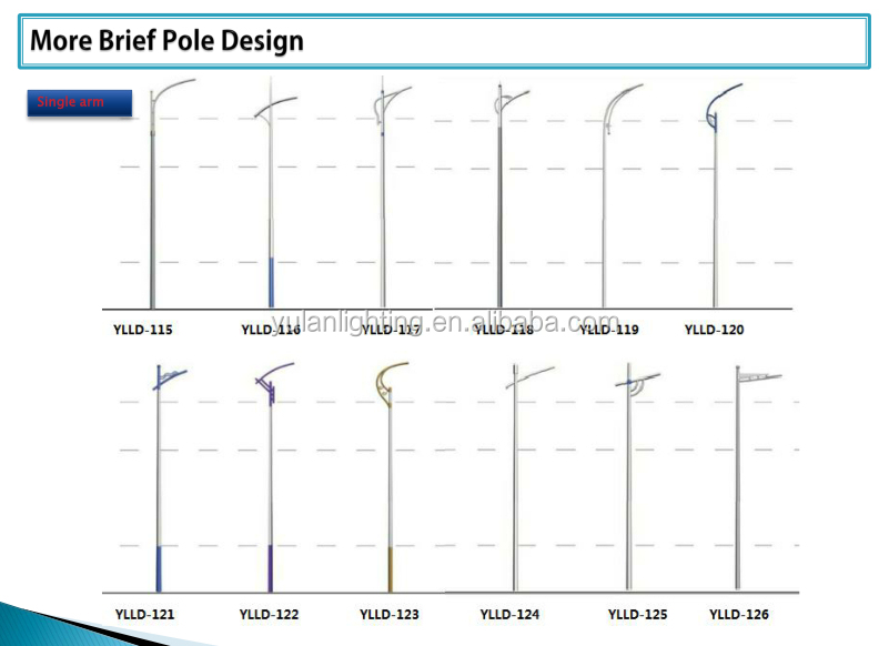 Q235 Commercial Lamp Post/galvanized Street Lighting Pole 12m In ...