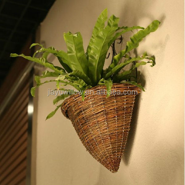 100%Handmade unique wicker plastic lined plant basket wicker recycled plant pot
