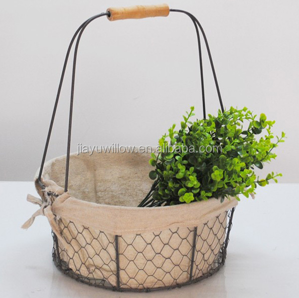 Round Stainless Steel Wire Basket Wire Mesh Baskets For Storage Metal Wire  Storage Baskets With Liners