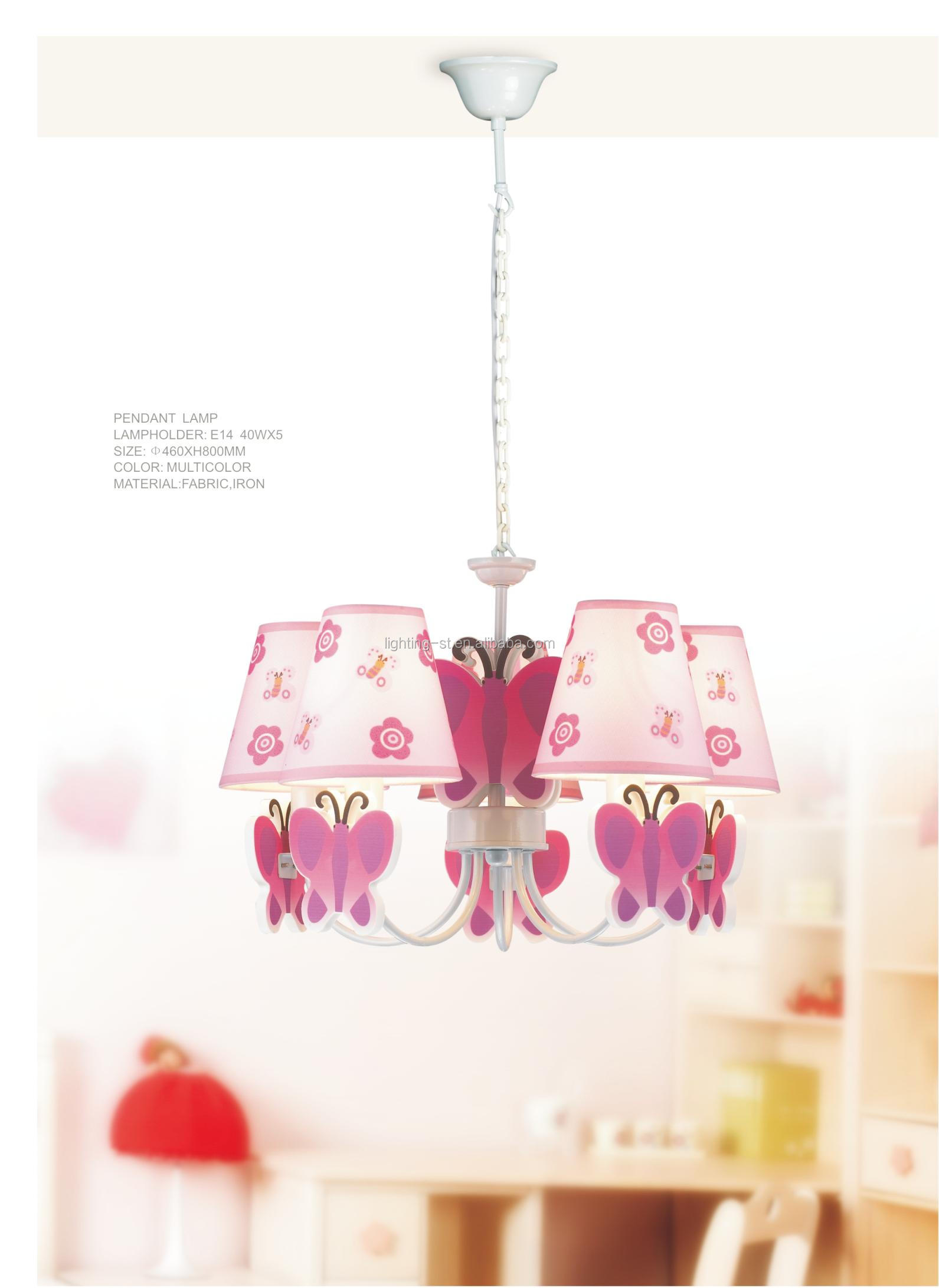 Kids bedroom ceiling lights - 5 Light Butterfly Capiz Ceiling Pendant Lamp For Kids Children