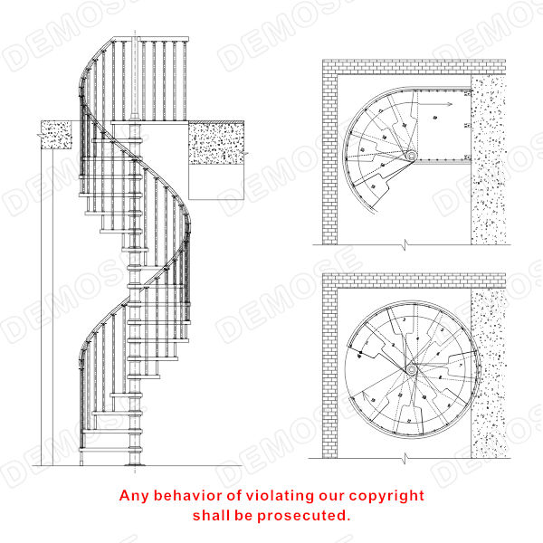 Metal staircase column spiral staircase calculator for Spiral stair cad