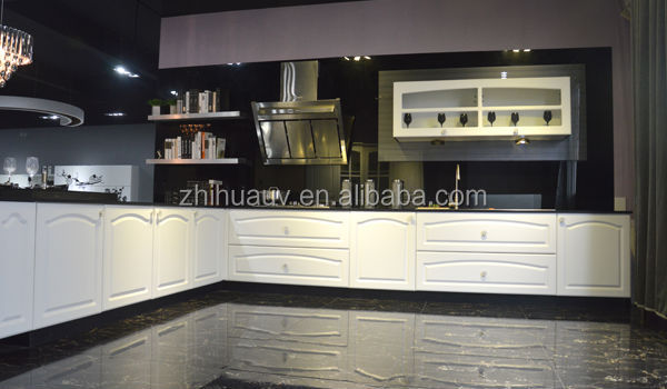 Glass Front Kitchen Cabinet Doors High Gloss White Color
