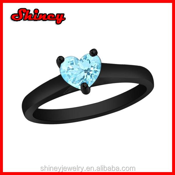 Black Rhodium Plating 925 Sterling Silver 0.85 Ct Heart Aquamarine ...