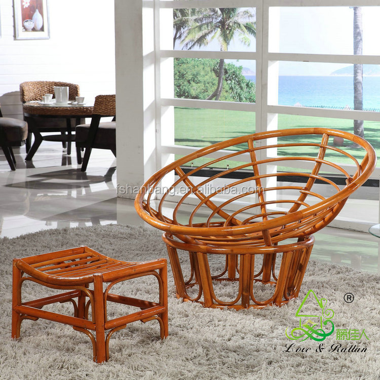 round large adult natural rattan wicker cane wood plush sleeping relax lounge bowl saucer chair