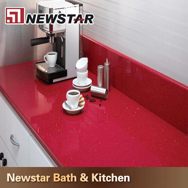Newstar Billige Rote Quarz-arbeitsplatte Küche Preis Indien - Buy ...