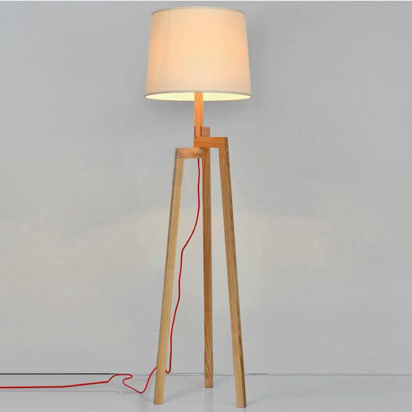 Wooden Floor Lamp Tripod Floor Standing Lamp