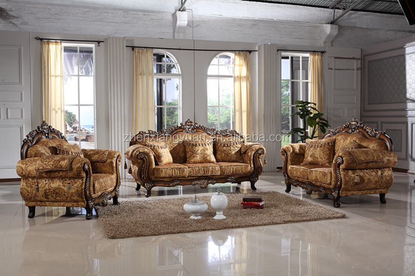 Wohnzimmer Sofa Im Amerikanischen Stil Antiken Holzrahmen Stoff ...